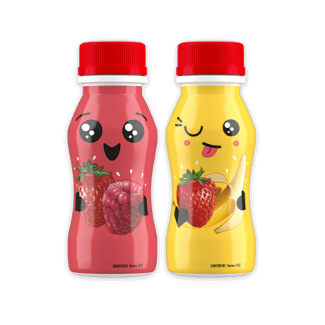 Two Yop bottles- Strawberry and Banana